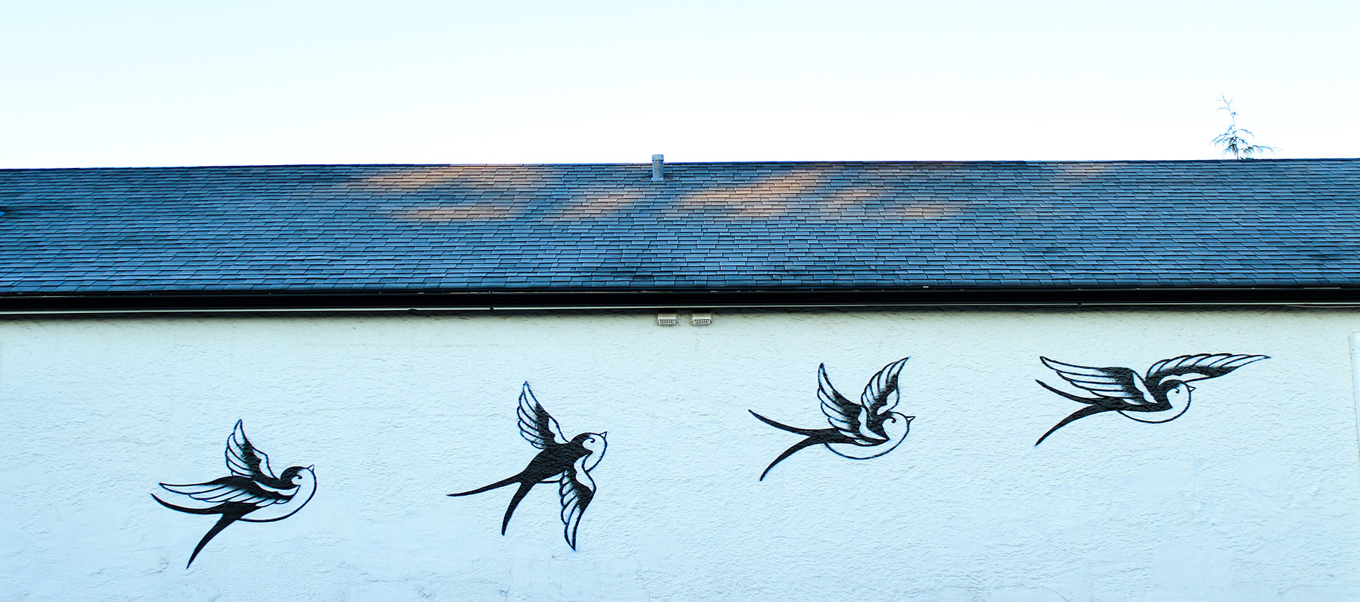 Mural of swallows in Cumberland British Columbia